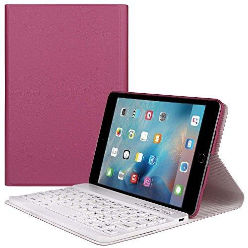 TWOBIU(TM) Ipad mini 4 Bluetooth Keyboard Ipad Mini Bluetooth keyboard Case, Leather Pouch with 360 Degree Rotating Stand Case Cover Wake/ Sleep and Elastic Band-Rose Red