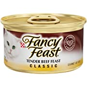 Fancy Feast Wet Cat Food, Classic ,Tender Beef Feast, 3-Ounce Can, Pack of 24