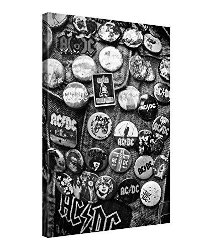 Ufficiale AC/DC® Larga stampa su tela per decorazione murale - PINS - 40x60cm Immagine su tela su telaio in legno - Stampa su tela Giclée - Arazzo decorazione murale