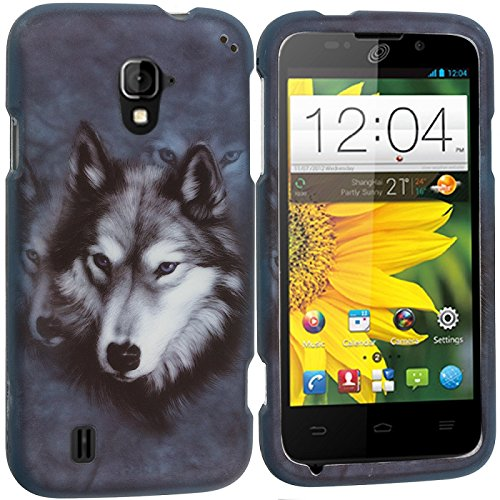 Cell Accessories For Less (TM) Wolf 2D Hard Rubberized Design Case Cover for ZTE Majesty Z796C Bundle (Stylus & Micro Cleaning Cloth) - By TheTargetBuys