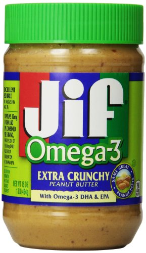 Jif Omega-3 Crunchy Peanut Butter, 16 Ounce (Pack of 12)