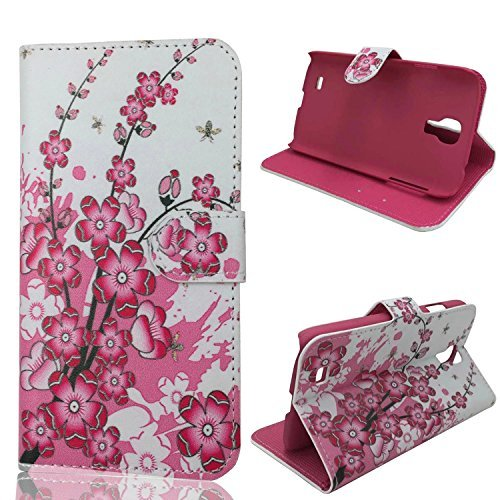S4 Case,Galaxy S4 Case, Welity New Flower Card Slot PU Wallet Leather Cover Case for Samsung Galaxy S4 i9500 and one gift
