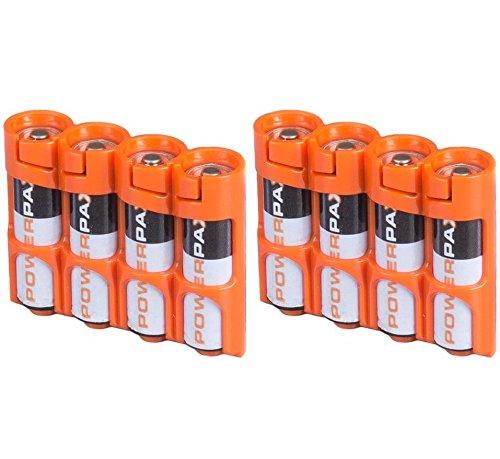Powerpax Slim Line AA Battery Caddy, Orange X 2 Pack - Each Holds 4 AA Batteries