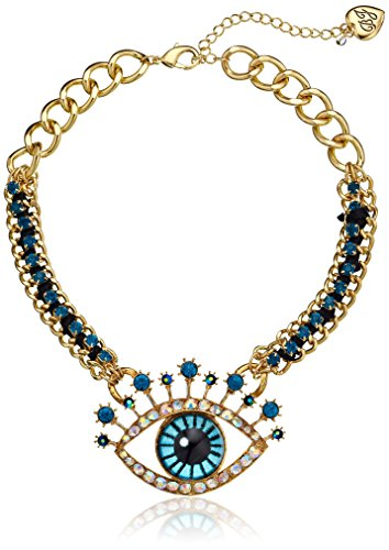 Betsey Johnson Critter Statement Gold-Tone Crystal Eye Necklace