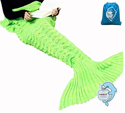 LAGHCAT Mermaid Tail Blanket Knit Crochet and Mermaid Blanket for Adult,Sleeping Blanket (71x35.5, Wave Green)