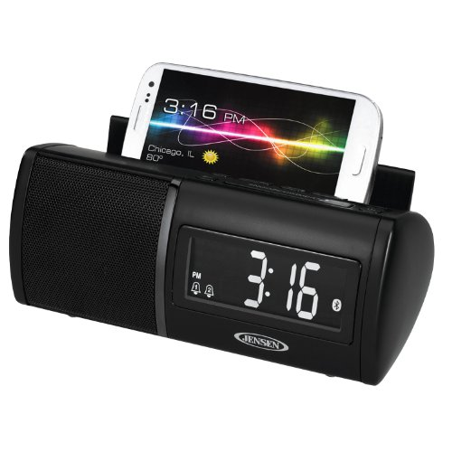 Jensen JBD100 Universal Bluetooth Clock Radio with Charging for Smartphones