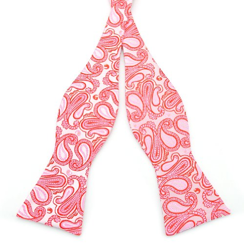 PenSee Mens Self Bow Tie Red & Pink Paisley Woven Silk Bow Ties