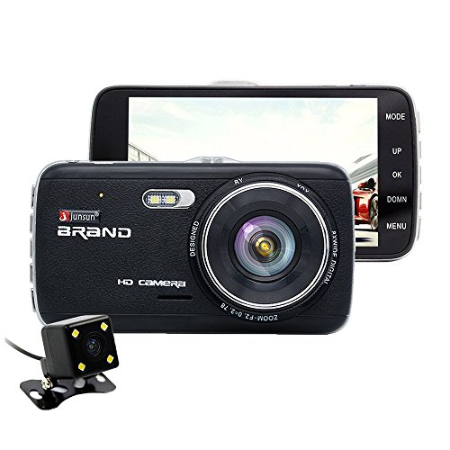 Dash Cam, Junsun Car Camera DVR Full HD 1080P Dual Lens 170° with Rear View Camera Support G-Sensor, Night Vision, Automatic Loop, Cycle Recording, Motion Detection, Parking Monitoring - 4 inch
