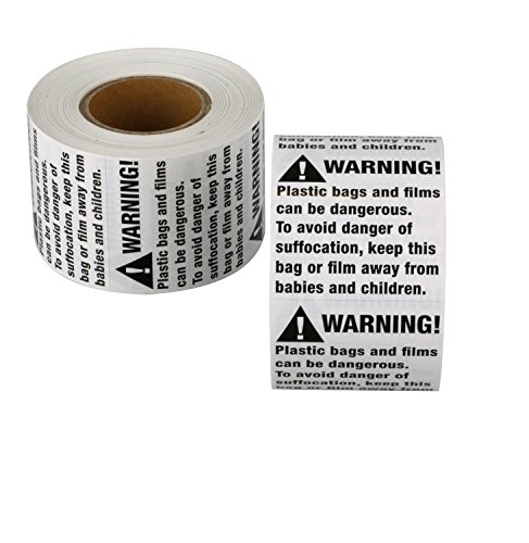 Suffocation Warning Labels - 1000 Plastic Bag Suffocation Stickers (2 x 2) FBA Compliant Labels (2 Rolls of 500) by SCS Direct
