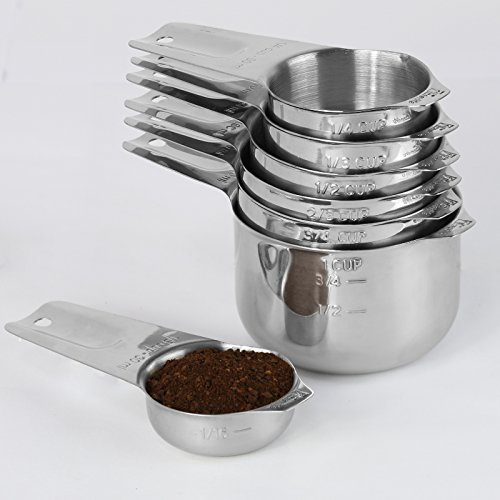 1Easylife 18/8 Stainless Steel Measuring Cups, Set of 7 (Including Perfect 1/8 Cup Coffee Scoop) Nesting Cups with Long handle and Spout
