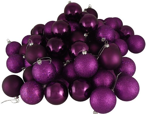 Vickerman Passion 4-Finish Ornament Set, Includes 32 Per Box, 3-Inch, Purple