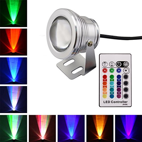 LONOVE 10W RGB LED Underwater Spot Light Multi-color AC DC12V 24V 16 Colors Changing IR Rmote Waterproof Pool Fountain Pond Outdoor Use Silver Case