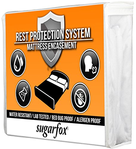 SugarFox Premium Mattress Protector - 100% Water Resistant, Dust Proof, Hypoallergenic & Bed Bug Proof - Soft Bamboo Terry Cotton (QUEEN SIZE) [24 MONTH WARRANTY]
