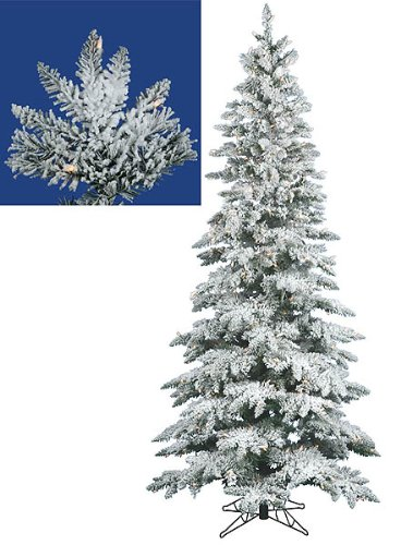 9' Pre-Lit Slim Snow Flocked Layered Uitca Fir Artificial Christmas Tree - Clear Dura Lights