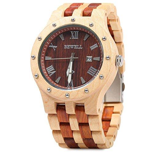 Bewell Men Wooden Quartz Watch Round Dial Analog Wristwatch