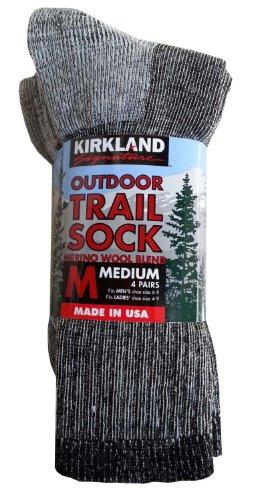Kirkland Signature Outdoor Trail Sock Merino Wool Blend Medium, 4 Pairs