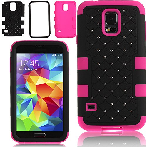 Case for Samsung Galaxy S5,Cover for Galaxy S5,Case for Samsung I9600,Hybrid Case for Samsung Galaxy S5,Hard Case for Samsung Galaxy S5,ikasus(TM) Full-body Inlaid Shiny Bling Crystals Rhinestones Rugged Shockproof Dirtproof Soft Silicone and Hard Plastic 3In1 Hybrid High Impact Bumper Hard Back Case Cover for Samsung Galaxy S5 I9600 (Black)