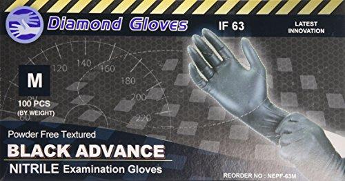 Diamond Gloves Black Advance Nitrile Examination Powder-Free Gloves, 6.3 mil, Heavy Duty, Medical Grade, Medium, 100 Count