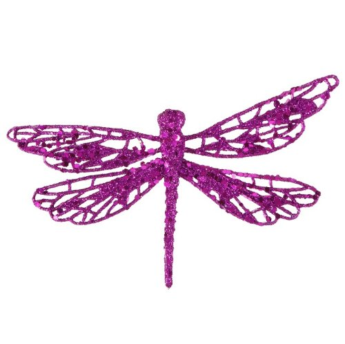 6 Purple Glittered Dragonfly Clip-On Christmas Ornament