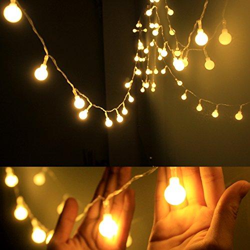 Dailyart 13feet/4m Long Globe String Light Starry Light for Gardens, Home, Wedding, Christmas Party, Warm White, Battery-powered
