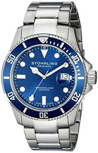 Stuhrling Original Men's 417.03 Aquadiver Regatta Espora Swiss Quartz Date Stainless Steel Dive Watch