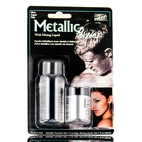Mehron Metallic Powder with Mixing Liquid, 1 oz, Silver