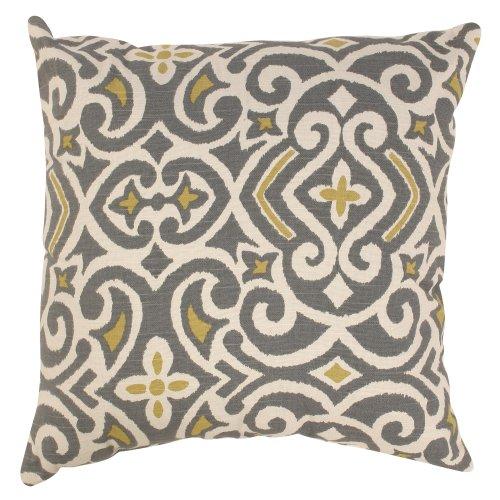 Pillow Perfect Decorative Damask Square Toss Pillow, Gray/Yellow