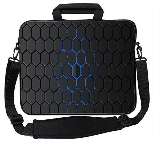 Snoogg Honeycomb 16 17 17.1 17.3 17.4 inch Neoprene Laptop Sleeve Bag Carrying Case with Handle and Adjustable Shoulder Strap