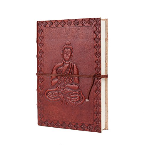 Christmas Gift Leather Journal Travel Pocket Diary Embossed Buddha Design Planner with Handmade Paper