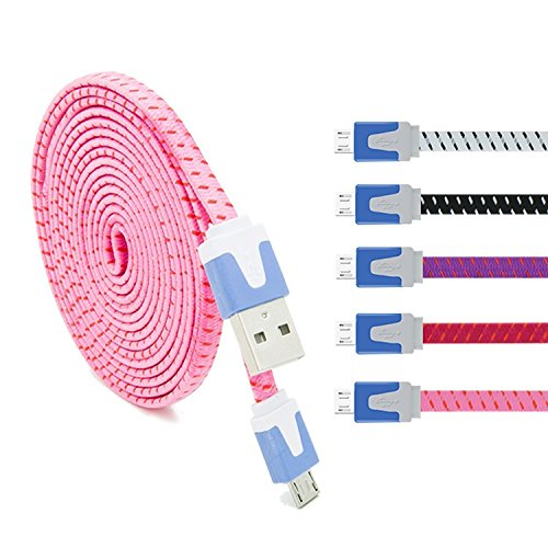 Eversame 3363509 6-Feet Braided Nylon Flat Micro USB2.0 Data Cable Charging Cord for Android and Windows Phones - 5 Pack (Black/White/Purple/Pink/Hot Pink)