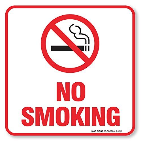 (4 Pack) No Smoking Sign Self Adhesive  5½ X 5½ 4 Mil Vinyl Decal - Indoor & Outdoor Use - UV Protected & Waterproof - Sleek, Rounded Corners
