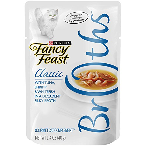 Fancy Feast Broths for Cats, Classic, With Tuna Shrimp and Whitefish, 1.4-Ounce Pouch, Pack of 32
