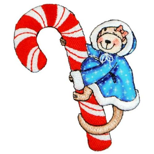 Expo BZP88515 Iron-on Embroidered Applique Bazooples, Molly Monkey on Candy Cane