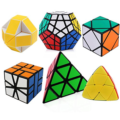 Dreampark Set of 6 Magic Speed Cubes Bundle with Pyraminx, Megaminx, Oblique, Mastermorphix, Square-1 SQ1 and Snake Yellow and White Twisty Toy Puzzle