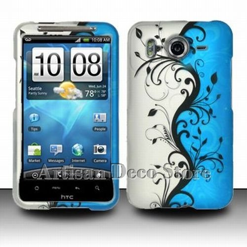 HTC Inspire 4G Accessory - Blue Silver Black Vines Protective Hard Rubberized Case Cover Design for AT&T