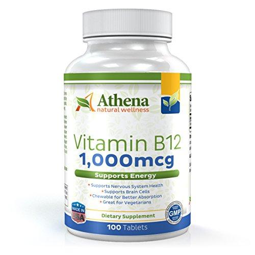 Athena - Vitamin B12 1,000mcg - Methylcobalamin - Chewable Tablets - 100 Count - Non-GMO Formula