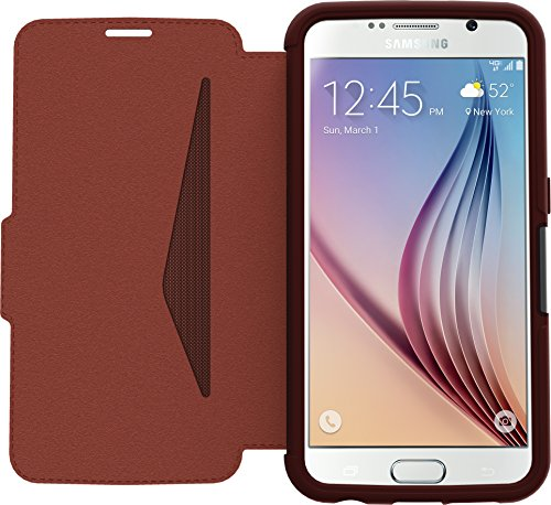 OtterBox STRADA SERIES Case for Samsung Galaxy S6 - Retail Packaging - CHIC REVIVAL (WARM BLACK/MAROON)