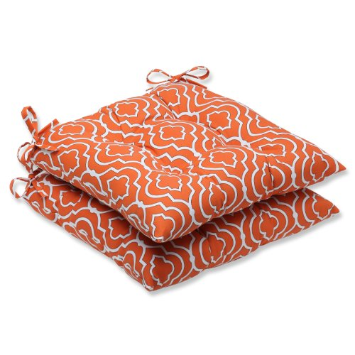 Pillow Perfect Outdoor Starlet Mandarin Wrought Iron Seat Cushion, Set of 2