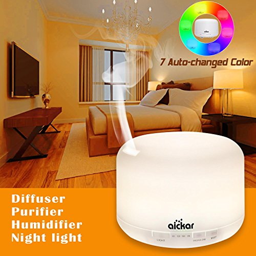 Ultrasonic Essential Oil Diffuser Essential Oils Diffuser Aromatherapy Diffuser (500Ml,7 Changed Color,Auto Shut-Off) Ultrasonic Diffuser for Essential Oils Diffusers Essential Oils Accessories