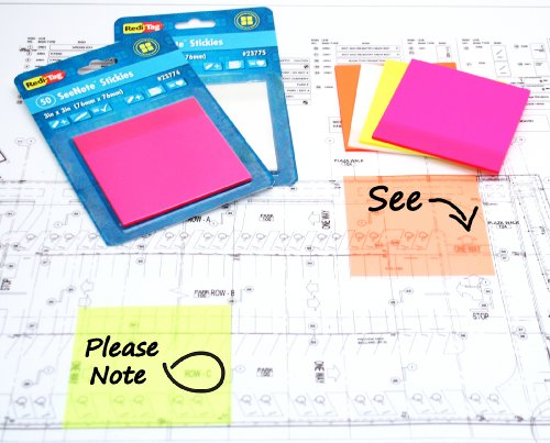 Redi-Tag SeeNote Stickies Transparent Sticky Notes, 50-Pack, 3 x 3 Inches, Neon Yellow (23772)