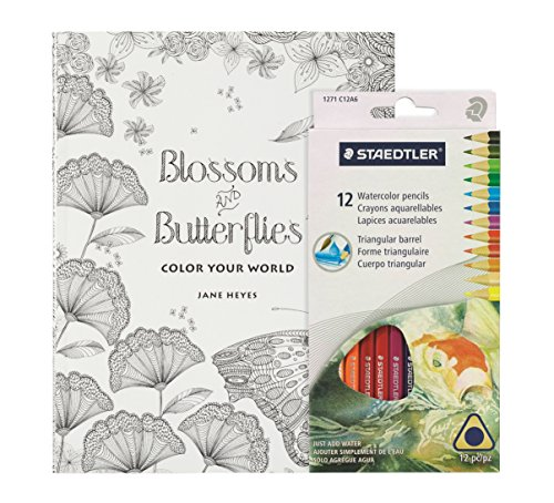 Coloring Book for Adults - Blossoms & Butterflies Mandalas - Includes 12 Staedtler Colored Pencils