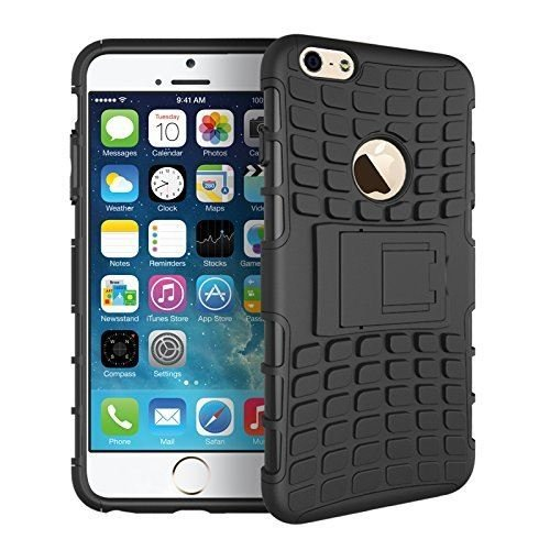 InventCase Apple iPhone 6 Plus 2014 / iPhone 6s Plus 2015 (5.5 inch) Heavy Duty Shockproof Case Cover with in Built Stand and Screen Protector - Black