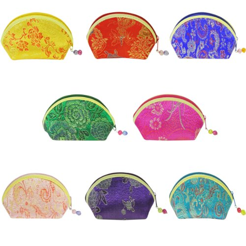 Wrapables Silk Embroidered Brocade Gift Jewelry Coin Pouch Purse, Set of 8