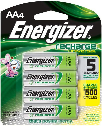 Energizer Universal NiMH AA Rechargeable Batteries, 4 Count