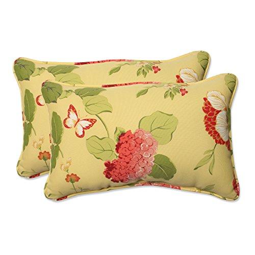 Pillow Perfect Indoor/Outdoor Risa Corded Rectangular Throw Pillow, Lemonade, Set of 2