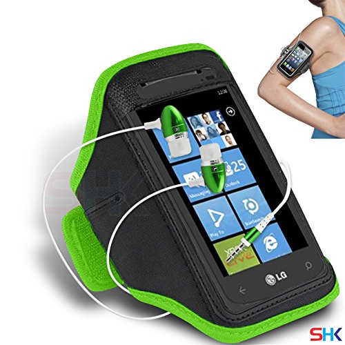 LG C900 Optimus 7Q GREEN + EARPHONE Adjustable Armband Sport Gym Bike Cycle Running Jogging Sports Case Cover Holder Pouch (AA) with EAR BUDS Stereo Hands Free BY SHUKAN®