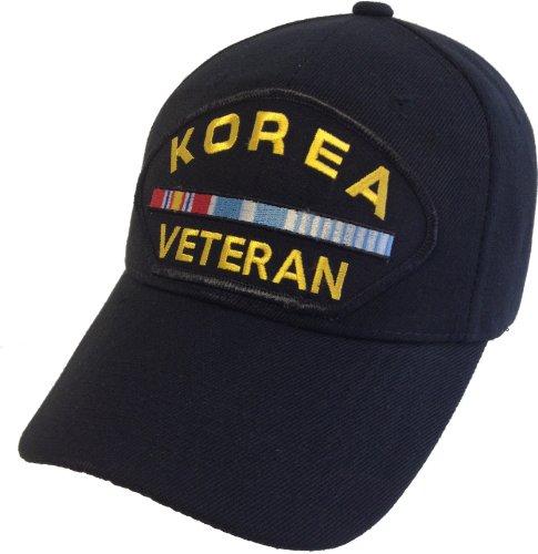 Korea Vet Veteran Korean War Ribbon Hat Black Ball Cap