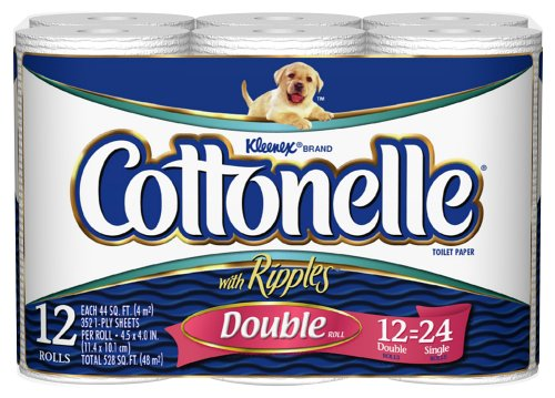 Cottonelle Toilet Paper, Double Roll, White (12 Rolls)
