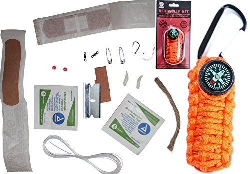 paracord Grenade emergency Kit Holtzman's Parachute Cord Survival Pack Has a Carabiner & Compass 17 emergency tools fishing kit (Floro Orange)