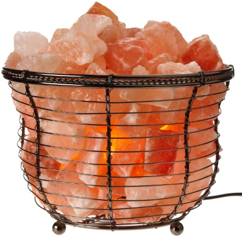 WBM 1301B 1301B Natural Himalayan Basket Salt Lamp with Bulb and Dimmer Switch, Pink